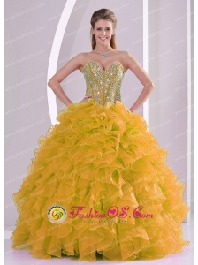 Beading and Ruffles Sweetheart Long Quinceanera Gowns for 2013 winter