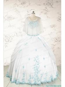 Appliques Pretty Quinceanera Dresses in White for 2015
