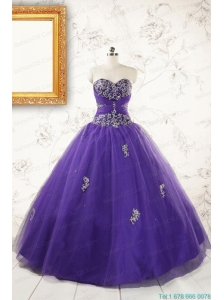 New Arrival Purple Quinceanera Dresses with Appliques and Beading