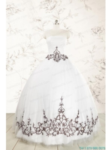 2015 Appliques Strapless Ball Gown White Tulle Quinceanera Dress