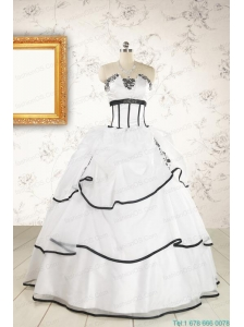 2015 Cheap Appliques and Ruffles White and Black Quinceanera Dresses