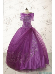 2015 Formal Sweetheart Appliques Purple Quinceanera Dresses