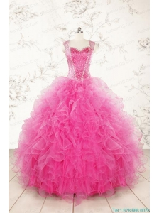 2015 Pretty Straps Hot Pink Quinceanera Dresses with Beading