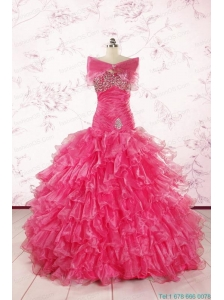 2015 Sweetheart Sequins Ruffles Unique Hot Pink Quinceanera Dresses