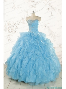Baby Blue 2015 Prefect Quinceanera Dresses with Beading and Ruffles