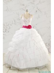 Elegant Halter Belt Beading White Quinceanera Dresses for 2015