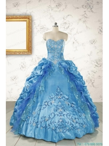 Elegant Sweetheart Embroidery Sweet 16 Dress in Blue