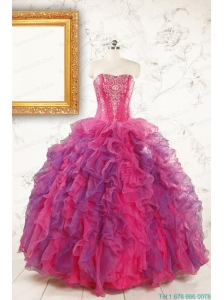 2015 Beautifull Multi Color Quinceanera Dresses with Appliques and Ruffles