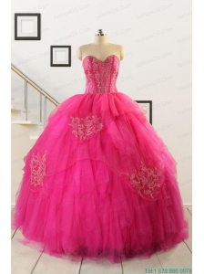 2015 Pretty Appliques Dresses For 15 in Hot Pink