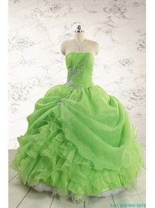 2015 Puffy Strapless Appliques Quinceanera Dresses in Spring Green