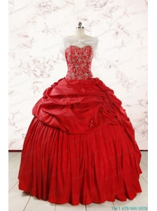 2015 Puffy Sweetheart Beading Quinceanera Dresses in Red
