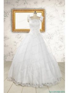 2015 Wonderful  White Quinceanera Dresses with Appliques and Beading