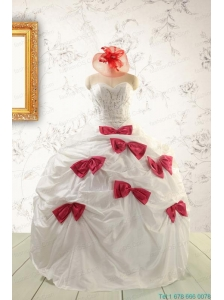 Cheap White Quinceanera Dresses with Beading and Bowknots For 2015