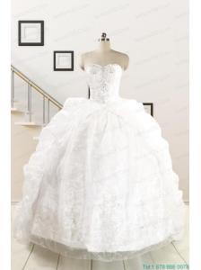 Exquisite Appliques White Brush Train Quinceanera Dresses for 2015