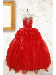 Most Popular Sweetheart Ball Gown Beading Red Quinceanera Dresses