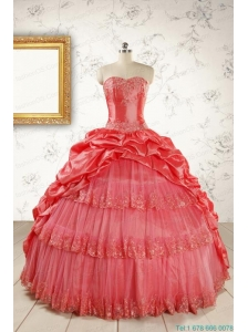 New Style Appliques Quinceanera Dresses in Watermelon