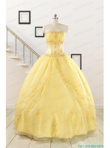 Pretty Yellow Quinceanera Dresses with Appliques and Beading For 2015