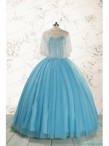 2015 Ball Gown Baby Blue Beading Quinceanera Dress with Wraps