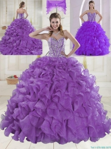 Eggplant Purple Brush Train Quinceanera Dresses with Sweetheart