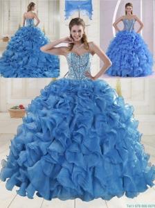 Elegant Brush Train Beading Quinceanera Dresses in Baby Blue