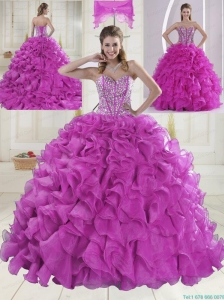 Ball Gown Sweetheart Brush Train Beading Quinceanera Dresses in Fuchsia