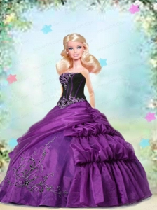 Purple Dress Made To Fit The Quinceanera Doll With Appliques