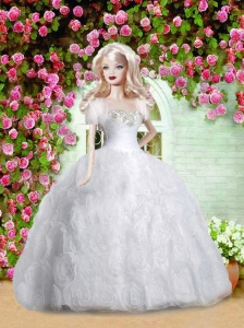 White Quinceanera Doll Dress With Appliques And Rolling Followers