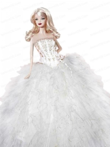 White Dress For Quinceanera Doll With Appliques On Quinceanera Party