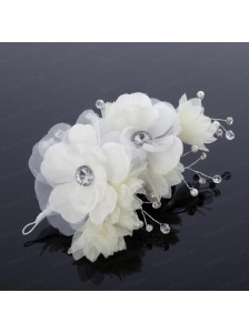 White Rhinestone and Pearl Fascinators for Wedding