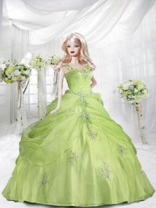 Yellow Green Quinceanera Dress For Quinceanera Doll With Appliques And Ruffles