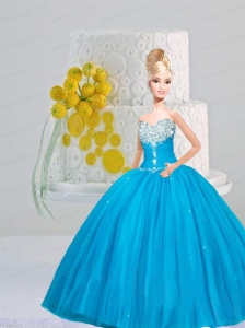 Appliques And Pick-ups Quinceanera Dress For Quinceanera Doll In Baby Blue