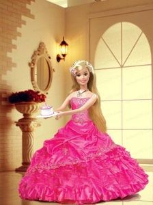 Appliques And Pick-ups Quinceanera Dress For Quinceanera Doll In Hot Pink