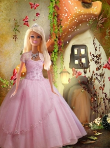 Baby Pink Quinceanera Dress For Quinceanera Doll With Beading