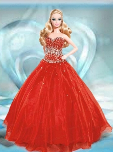 Beading Quinceanera Dress For Quinceanera Doll In Red