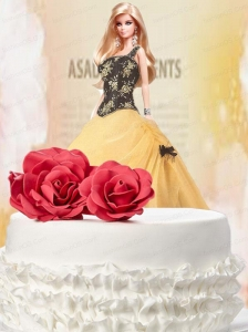 Black And Yellow Quinceanera Dress For Quinceanera Doll With Appliques