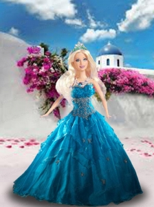 Blue Quinceanera Dress For Quinceanera Doll With Beading And Ruffles