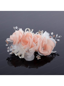 Cute Beading Tulle Peach Hair Flower for Outdoor