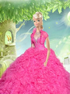 Hot Pink Quinceanera Doll Dress With Beading And Ruffles