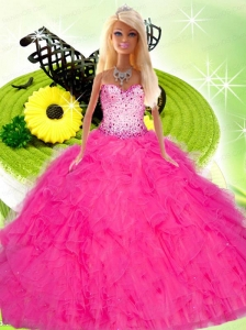 Hot Pink Gown For Quinceanera Doll With Beading And Ruffles