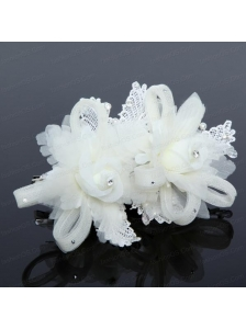 Luxurious Blue Lace Hair Flower with Imitation Pearls