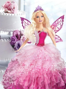 Pink Quinceanera Dress For Quinceanera Doll With Beading And Ruffles