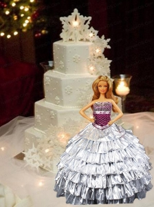 Silver Quinceanera Dress For Quinceanera Doll With Ruffled Layers