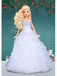 White Quinceanera Doll Dress With Beading And Ruffles