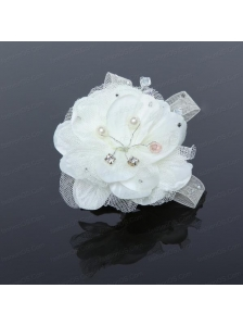 White Tulle Wedding Fascinators Hair Flower with Rhinestone