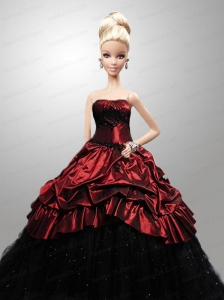 Wine Red Quinceanera Dress For Quinceanera Doll With Beading