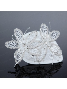 2014 White Cheap Lace Hair Flowers with Rhinestone