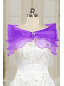 Eggplant Puple Beading Organza Shawls for Wedding