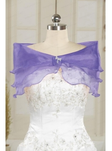 Lavender Organza Beading Shawls for Wedding