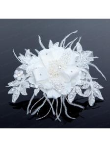 2014 White Pearl Lace and Feather Wedding Hair Flowers