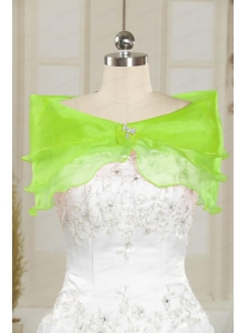 Beautiful Organza Beading Spring Green Shawls for Wedding
